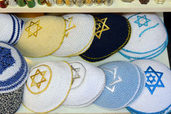 Knitted jewish religious caps (yarmulke). On the market in Jerusalem, Israel Royalty Free Stock Photography