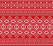 Knitted jumper winter ornament design. Knitted red color sweater texture. Seamless pattern. Vector illustration Royalty Free Stock Images