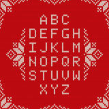 Knitted Latin Alphabet on Seamless Background. Nordic Fair Isle Knitting Sweater Design Royalty Free Stock Images