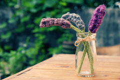 Knitted lavender flower Royalty Free Stock Images