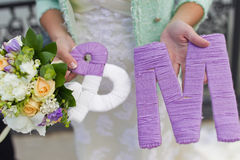 Knitted lettering Stock Image