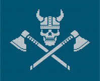 Knitted logo - Viking skull vector illustration