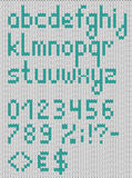 Knitted lowercase english alphabet with numbers and symbols. Vec Royalty Free Stock Images
