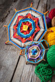 Knitted mandala and yarn Royalty Free Stock Images