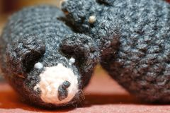 Knitted mice toys hugging. Woolen knitted mice toys hugging Stock Photos