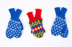 Knitted mittens Royalty Free Stock Images