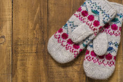 Knitted mittens Stock Image