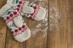 Knitted mittens Royalty Free Stock Photos