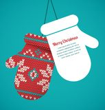 Knitted mittens Christmas vector background Stock Photo