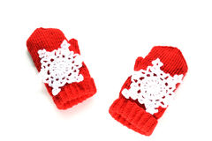 Knitted mittens with decoration – snowflakes Royalty Free Stock Photo