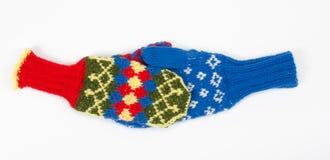 Knitted mittens handshake Stock Photo
