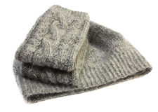 Knitted mittens and hat Royalty Free Stock Image
