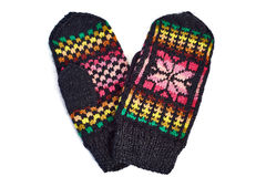 Knitted mittens isolated on white Royalty Free Stock Photo