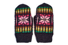 Knitted mittens isolated on white Stock Photos