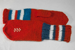 Knitted mittens Stock Photo