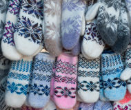 Knitted mittens with pattern Royalty Free Stock Images