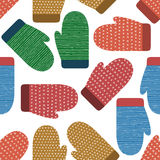 Knitted mittens seamless pattern. Winter, christmas, new year colorful background, banner, wallpaper, wrapping. Cartoon cute vecto Stock Photo
