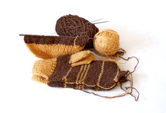Knitted mittens Stock Images