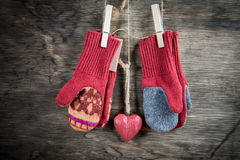Knitted mittens winter background Stock Image