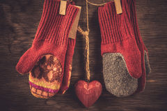 Knitted mittens winter background Stock Images