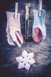 Knitted mittens winter background Stock Photography