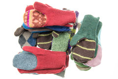 Knitted mittens Stock Photos