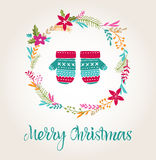 Knitted mittens Xmas background, Merry Christmas card Stock Images