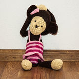 Knitted monkey doll Royalty Free Stock Image