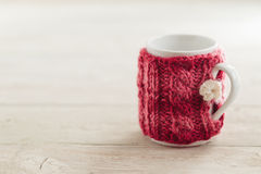 Knitted Mug Cozy Stock Photography