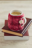 Knitted Mug Cozy Royalty Free Stock Images