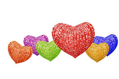 Knitted multicolored hearts family Stock Image