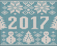 Knitted new 2017 year card, vector Royalty Free Stock Photos