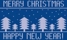Knitted New Year Theme with Fir Trees and Snow on Blue. Knit fir tree forest in snowy weather Stock Image