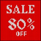 Knitted number eighty percent sale Stock Image
