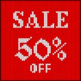 Knitted number fifty percent sale. Knitted pattern of discount rate. Sale off fifty percent. Texture in Scandinavian style with white numerals. Label for price Stock Photos