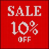 Knitted number ten percent sale. Knitted pattern of discount rate. Sale off ten percent. Texture in Scandinavian style with white numerals. Label for price tags Royalty Free Stock Photo