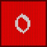 Knitted number zero. Figures zero as knitted pattern. Texture of jacquard sweater in Scandinavian style, white numerals. Decoration for postcard, greetings Stock Photos
