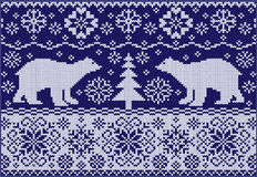 Knitted ornament with bears vector illustration