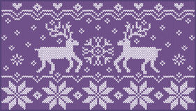 Knitted ornament with deers stock image