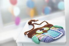 Knitted owl bag royalty free stock photo