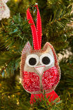 Knitted owl Christmas decoration Stock Image