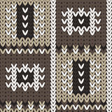 Knitted pattern with abstract paintings in squares. Stock Photo