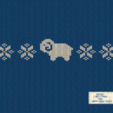 Knitted pattern card with funny sheep. Christmas and New Year knitted pattern card with funny sheep and snowflakes Royalty Free Stock Image