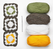 Knitted pattern, crochet and color yarn Stock Photography