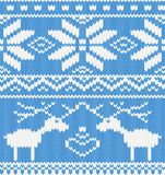 Knitted pattern with deer stock photography