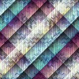 Knitted pattern on diagonal geometric background. Royalty Free Stock Photography