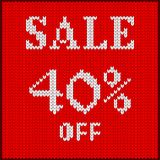 Knitted number forty percent sale. Knitted pattern of discount rate. Sale off forty percent. Texture in Scandinavian style with white numerals. Label for price royalty free illustration