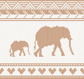 Knitted pattern with elephant Royalty Free Stock Photo