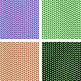 Knitted pattern. Four knitting patterns of different colors Stock Image
