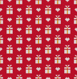 Knitted pattern. Gifts and heart on a red background. Concept of celebrations, holidays, actions. Handwork ornament. Seamless pattern. Vector illustration Stock Images